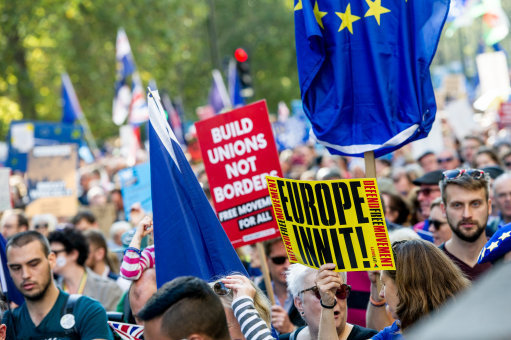 The People's March for a public vote on the final Brexit deal between the United Kingdom and the European Union, London, UK on October 20th 2018 - Protestors with Banners